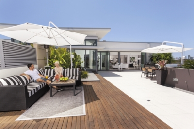 A tiled or wooden terrace?