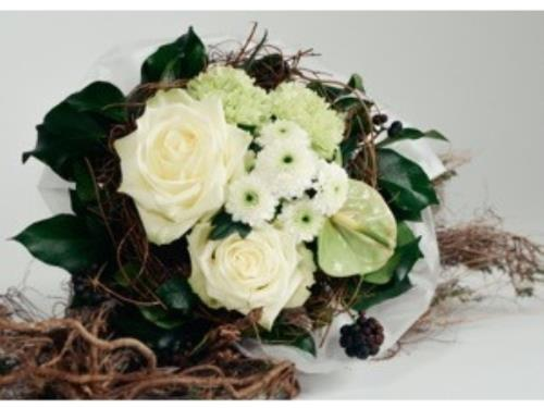 Bouquet mixte en blanc
