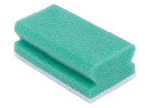 Éponge à récurer synthétique 13 x 7 cm verte/blanche