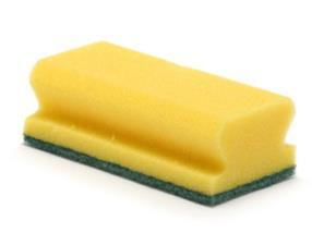 Éponge à récurer synthétique 13 x 7 cm jaune/verte