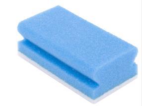 Éponge à récurer synthétique 13 x 7 cm bleue/blanche